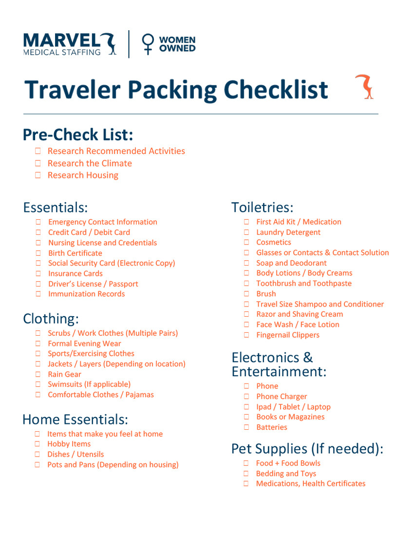 Packing Checklist for Download